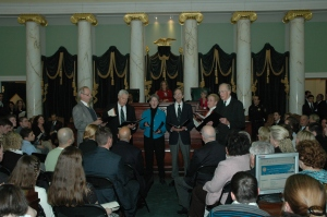"Members of the JCC sing our National Anthem as well as ""America, the Beautiful"" at the opening of the Rhode Island Senate, January 2011"