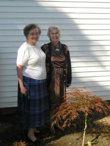 Ruth Caswell and Nancy Mason at the Dedication of the tree in Memory of Chet Caswell - October, 2008